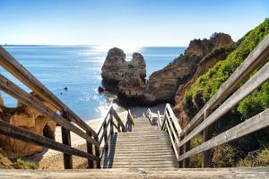 Welcome to Portugal Collection - Wooden Stairs to Praia do Camilo Beach by Philippe Hugonnard