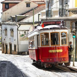 Welcome to Portugal Square Collection - Red Tram Old Town Lisbon by Philippe Hugonnard