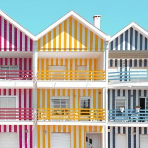Welcome to Portugal Square Collection - Three Houses of Striped Colors IV by Philippe Hugonnard