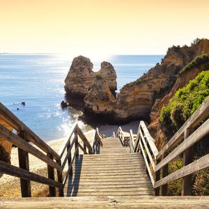 Welcome to Portugal Square Collection - Wooden Stairs to Praia do Camilo Beach at Sunset by Philippe Hugonnard