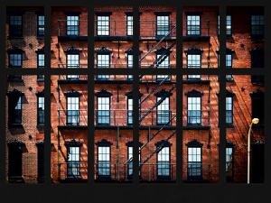 Window View - Building Facade in Red Brick and Stairways by Philippe Hugonnard