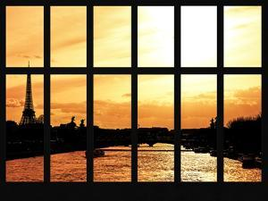 Window View - Color Sunset in Paris with the Eiffel Tower and the Seine River - France - Europe by Philippe Hugonnard