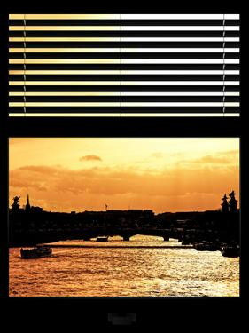Window View - Color Sunset in Paris with the Seine River - France - Europe by Philippe Hugonnard
