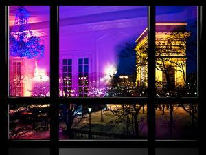Window View, Haussmann Appartment Night in Paris, Place Charles De Gaule with the Arc De Triomphe by Philippe Hugonnard