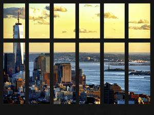 Window View - Landscape View with the Empire State Building at Sunset - Manhattan - New York City by Philippe Hugonnard