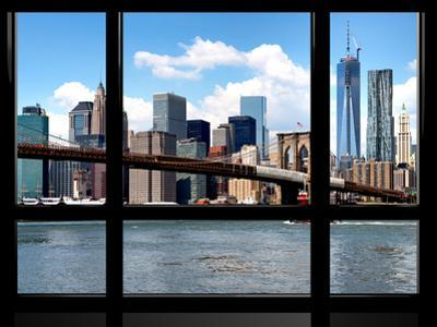 Window View, Manhattan with One World Trade Center (1WTC) and the Brooklyn Bridge, New York by Philippe Hugonnard
