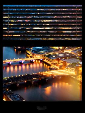 Window View of City of London at Pink-Night - River Thames - London - UK - England by Philippe Hugonnard