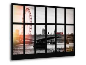 Window View of Waterloo Bridge with the Millennium Wheel and Big Ben - London - UK - England by Philippe Hugonnard