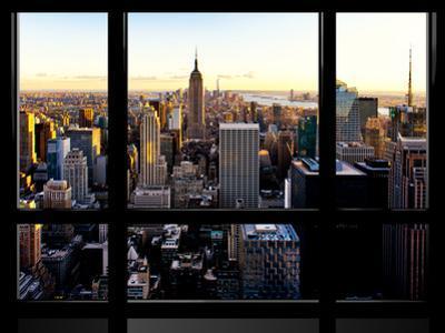 Window View, Skyline at Sunset, Midtown Manhattan, Hudson River, New York