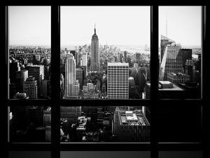 Window View, Skyscrapers and Empire State Building Views, Midtown Manhattan, Hudson River, New York by Philippe Hugonnard