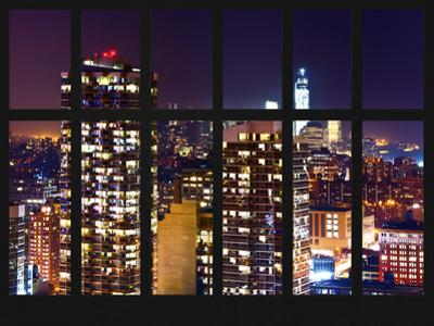 Window View - Skyscrapers of Times Square by Night - Manhattan - New York City by Philippe Hugonnard