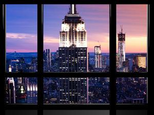 Window View, Special Series, Empire State Building and Liberty Tower by Night, Manhattan, NYC, US by Philippe Hugonnard
