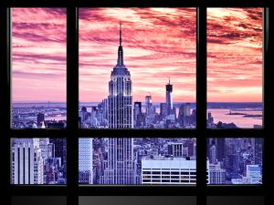 Window View, Special Series, Empire State Building View, Sunset, Manhattan, New York City, US by Philippe Hugonnard