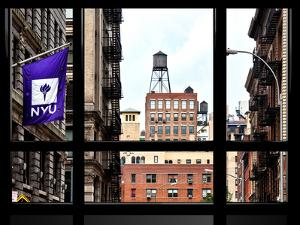Window View, Special Series, Greenwich Village, Nyu Flag, Manhattan, New York City, US, USA by Philippe Hugonnard