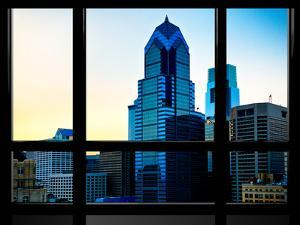 Window View, Special Series, Sunset Philly Skyscrapers View, Philadelphia, Pennsylvania, US, USA by Philippe Hugonnard
