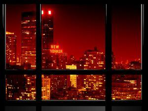 Window View, Special Series, the New Yorker at Red Night, Midtown Manhattan, New York, US, USA by Philippe Hugonnard