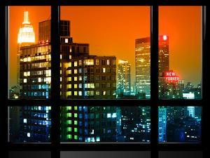 Window View, Special Series, the New Yorker Hotel, Empire State Building, Manhattan by Night, NYC by Philippe Hugonnard