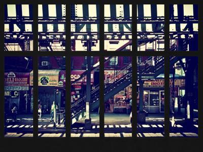 Window View - Urban Street Scene - Marcy Avenue Subway Station - Williamsburg - Brooklyn - NYC by Philippe Hugonnard