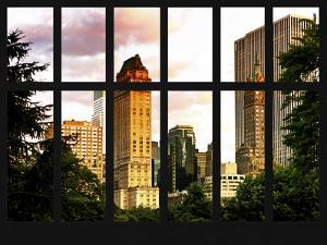 Window View - View Buildings Central Park at Sunset - Manhattan - New York City by Philippe Hugonnard