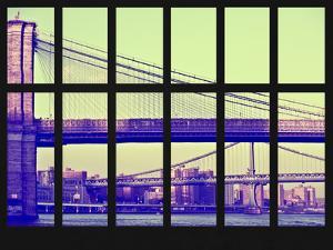 Window View - View of the Brooklyn Bridge and Manhattan Bridge - Manhattan - New York City by Philippe Hugonnard
