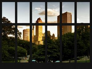 Window View - View on Trails and Buildings Central Park at Sunset - Manhattan - New York City by Philippe Hugonnard