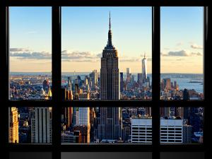 Window View, View Towards Downtown at Sunset, Manhattan, Hudson River, New York by Philippe Hugonnard