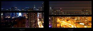 Window View with Venetian Blinds: 42nd Street and Times Square by Night by Philippe Hugonnard