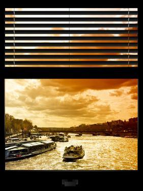 Window View with Venetian Blinds: Boats on the Seine River Views at Sunset - Paris, France by Philippe Hugonnard