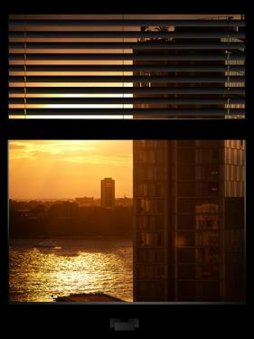 Window View with Venetian Blinds: Buildings Sunset View by Philippe Hugonnard