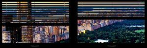 Window View with Venetian Blinds: Central Park and upper West Side Buildings - Manhattan by Philippe Hugonnard