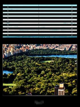 Window View with Venetian Blinds: Central Park with Upper West Side Buildings by Philippe Hugonnard