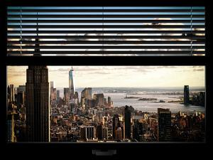 Window View with Venetian Blinds: Cityscape Manhattan with Empire State Building (1 WTC) by Philippe Hugonnard