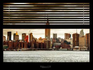 Window View with Venetian Blinds: Cityscape Manhattan with the Empire State Building at Sunset by Philippe Hugonnard