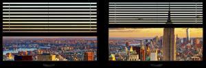 Window View with Venetian Blinds: Cityscape of Manhattan at Sunset by Philippe Hugonnard