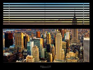 Window View with Venetian Blinds: Cityscape of Manhattanand One World Trade Center by Philippe Hugonnard