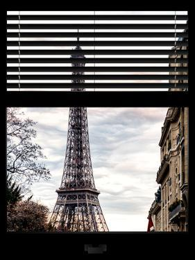 Window View with Venetian Blinds: Eiffel Tower at Sunset - French Architecture by Philippe Hugonnard