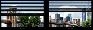 Window View with Venetian Blinds: Lower Manhattan with One World Trade Center and Brooklyn Bridge by Philippe Hugonnard