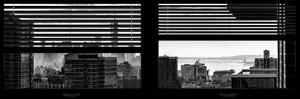 Window View with Venetian Blinds: Manhattan Landscape - One World Trade Center and Liberty Statue by Philippe Hugonnard