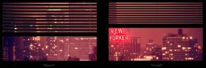 Window View with Venetian Blinds: Manhattan on a Pink Foggy Night with the New Yorker Hotel by Philippe Hugonnard