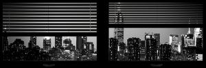 Window View with Venetian Blinds: Manhattan Skyline by Night with the Empire State Building by Philippe Hugonnard