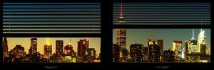 Window View with Venetian Blinds: Manhattan Skyline by Nightfall with the Empire State Building by Philippe Hugonnard