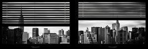 Window View with Venetian Blinds: Manhattan Skylinewith Empire State Building and Chrysler Building by Philippe Hugonnard