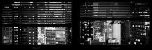 Window View with Venetian Blinds: Manhattan Skyscrapers and Times Square by Night by Philippe Hugonnard