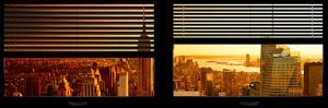 Window View with Venetian Blinds: Manhattan View with Empire State Building at Sunset by Philippe Hugonnard