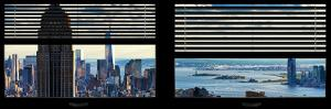 Window View with Venetian Blinds: Manhattan with Empire State Building and One World Trade Center by Philippe Hugonnard