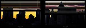 Window View with Venetian Blinds: New York City Manhattan Skyline at Dusk Sun by Philippe Hugonnard