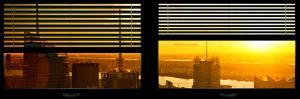 Window View with Venetian Blinds: NYC Midtown Landscape at Sunset by Philippe Hugonnard