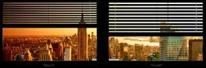 Window View with Venetian Blinds: NYC Midtown Landscape with Empire State Building at Sunset by Philippe Hugonnard