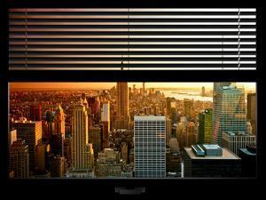 Window View with Venetian Blinds: NYC Midtown Landscape with Empire State Building - Manhattan by Philippe Hugonnard