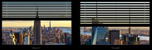 Window View with Venetian Blinds: Panoramic Skyline NYC with the Empire State Building and 1WTC by Philippe Hugonnard
